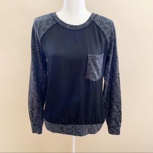 Lou & Grey Crewneck Marled Black Sweater Sz Small